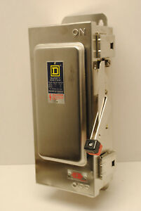 Square D Hu361ds Stainless Steel Disconnect Safety Switch 30 amp 600volt Nonfuse