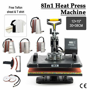 T Shirt Heat Press Machine For Mug Hat Plate Cap Mouse Pad 8 In 1