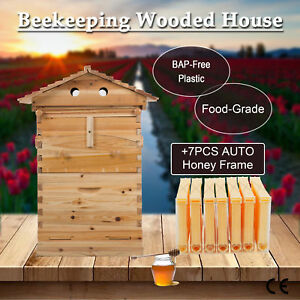 10 frame Bee Hive Frame For Beekeeping W 7pcs Auto Honey Hives Beekeeping