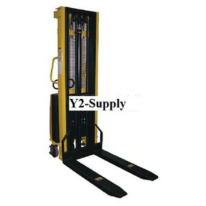 New Battery Operated Lift Stacker Fixed Forks Over Fixed Legs
