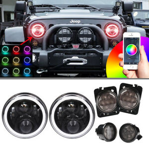 7inch Led Headlight Halo Angel Eye Turn Signal Fender Light For Jeep Wrangler Jk