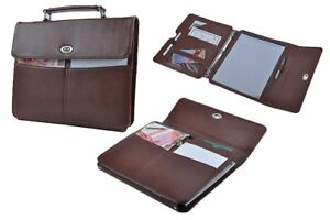 Binder Portfolio With Handle Leather Organizer Padfolio With 3 ring