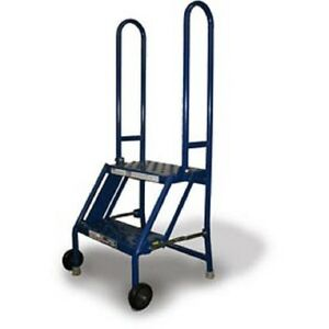 New 2 Step Folding Rolling Ladder Stand Perforated Tread
