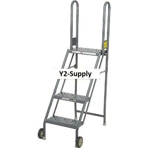 New 4 Step Folding Rolling Ladder Stand Perforated Tread