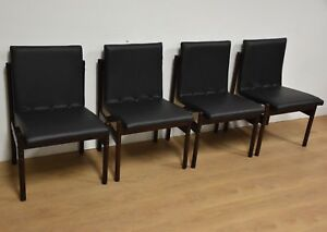 4 Brazilian Jacaranda Black Leather Dining Chairs Mid Century Modern Rosewood