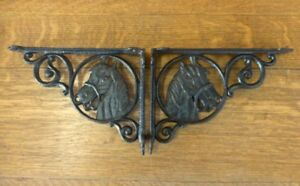 2 Brown Antique Style 9 Horse Shelf Brackets Rustic Cast Iron Country Wester