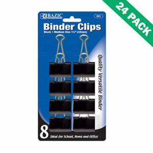 School Binder Clips Universal 32mm Black Paper Binder Clips Medium Pack Of 24