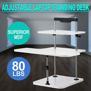 3 Tier Adjustable Computer Standing Desk Light Weight Easy Install Home Office