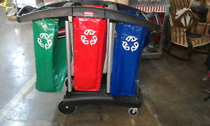 Rubbermaid Commercial Tri bag Waste collection Recycling Cart