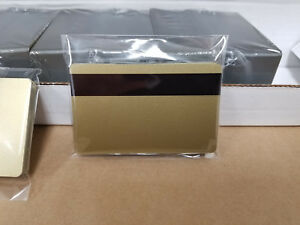 Gold Pvc Cards W Hico 3 Track Magnetic Stripe Cr80 30 Mil Pack Of 10 Seal