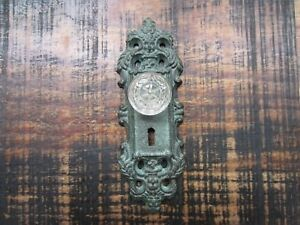 Cast Iron Door Plate Coat Robe Hook Painted Antique Teal With Glass Acrylic Knob