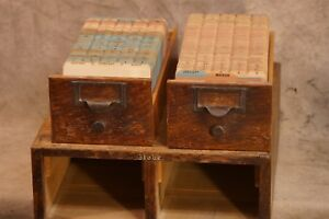 Antique Globe Wooden Index Card Filing Cabinet all 6 By 4 Cards Complete