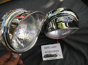 New Pair Of Small 6 volt Vintage Style Clear Color Fog Lights With Visors B t