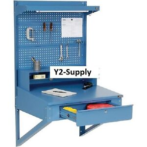 New Wall Mount Shop Desk With Pegboard Riser
