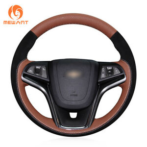 Orange Leather Black Suede Steering Wheel Cover For Chevrolet Malibu 2011 2014