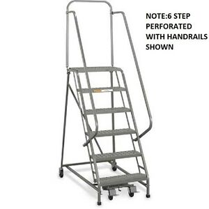 New Ega Steel Industrial Rolling Ladder 7 step 26 Wide Grip Strut 450lb cap