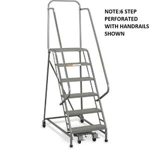 New Ega Steel Industrial Rolling Ladder 3 step 16 Wide Perforated 450lb cap