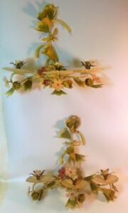 Vintage Pair Tole Metal Wall Flower Sconces Painted Candleholders Garden Chic
