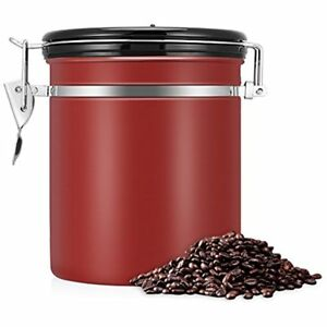 Coffee Container Stainless Steel Vacumm Sealed Airtihgt Kitchen Storage Red