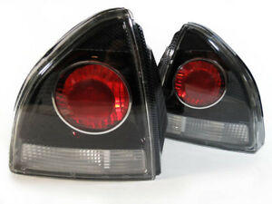 altezza Black Carbon Fiber Cf Look Clear Jdm Tail Light For 92 96 Honda Prelude