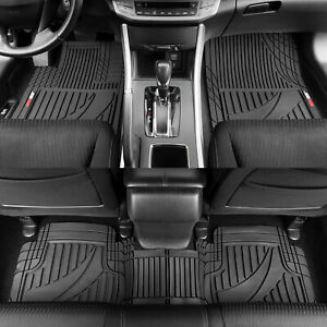 Motor Trend Customizable Trim To Fit All Weather Rubber Car Floor Mats 3pc Black