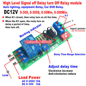 Dc 12v Adjustable Signal Trigger Timer Relay Switch Time Delay Turn Off Module