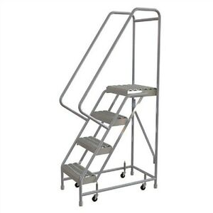 New 4 Step Aluminum Rolling Ladder 16 w Grip Tread 21 d Top Step 32 Handrails