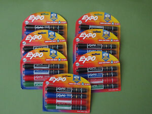 7 Pkg Lot Expo Dry Erase Markers 4 Asst Colors Teacher School Office Supply