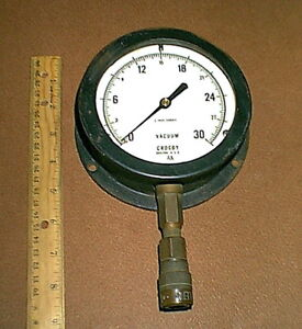 Huge Vintage Crosby 0 30 Hg Brass Vacuum Pressure Gauge Steampunk Untested