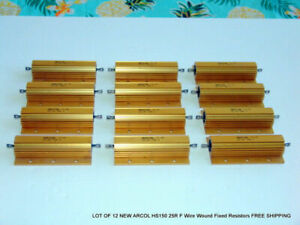 Lot Of 12 New Arcol Hs150 25r F Wire Wound Fixed Resistors Free Shipping