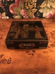 Chinese Portable Compass In A Original Lacquered Wooden Dragon Box Case
