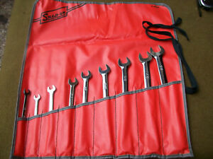 New Snap On 6 Point 5 16 3 4 9 Piece Sae Wrench Set With Roll Up Pouch