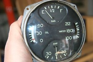 33 34 Oldsmobile 6 8 Gauges Gauge Cluster Curved Glass Vintage