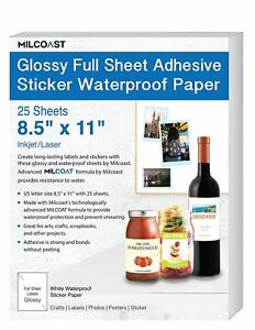 Milcoast Glossy Full Sheet 8 5 X 11 Adhesive Waterproof Photo Craft Paper