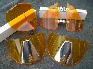 New Set Of Amber Vintage Style Hood Bug Vent Deflectors Head Light Visors 86