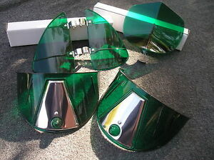 New Set Of Green Vintage Style Hood Bug Vent Deflectors Head Light Visors 86