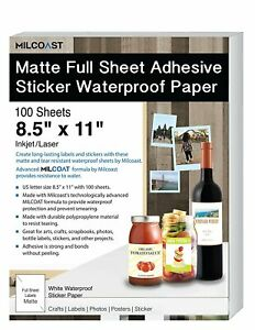 Milcoast Matte Full Sheet 8 5 X 11 Adhesive Tear Resistant Waterproof Paper