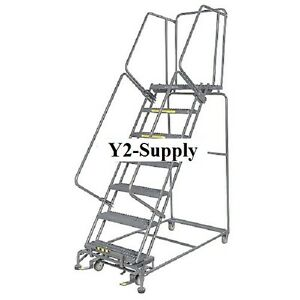 New Perforated 16 w 7 Step Steel Rolling Ladder 21 d Top Step