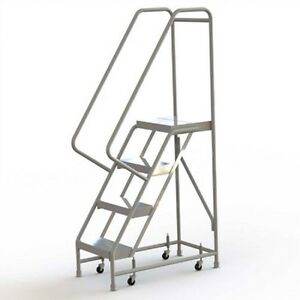 New 4 Step Alum Rolling Ladder 16 w Ribbed Tread 21 d Top Step 32 Handrails
