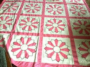 Beautiful Antique Handmade Applique Quilt All Hand Made
