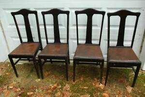 4 Antique Splat Back Leather Seat Chairs