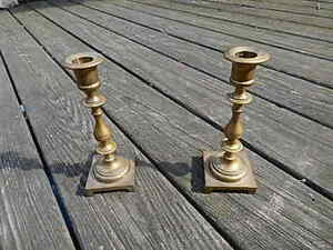 Two Antique Brass Candlestick Holders 7 1 2 Inches Tall Nice International Sale
