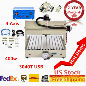 3040t Usb 4 Axis Mach3 Cnc Router Engraving Milling Machine 110v 400w us Stock