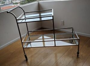 Vtg Mid Century Modern Welded Chrome Glass 2 Tier Xtra Long Trolley Bar Tea Cart