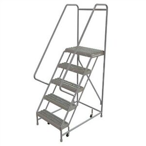 New 5 Step Alum Rolling Ladder 24 w Grip Tread 21 d Top Step 32 Handrails