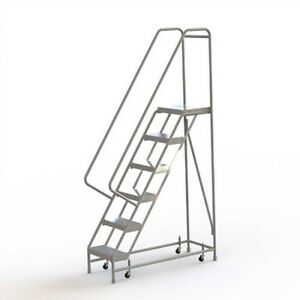 New 6 Step Alum Rolling Ladder 16 w Ribbed Tread 21 d Top Step 32 Handrails