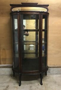 Early 1900 S Oak Mirror Back Curved Glass Cabinet Shipping Available