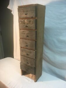 Vintage Wood Industrial Parts Bin 7 Drawer Garage Cabinet Tramp Art Cigar Box