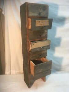 Vintage Wood Industrial Parts Bin 6 Drawer Garage Cabinet Tramp Art Cigar Box