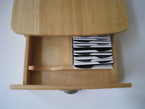 Wood Rolodex Business Card File Box Drawer Organizer